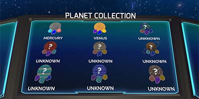 Collection screen showing locked and unlocked planets