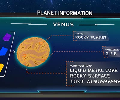 Info screen showing information about an unlocked planet